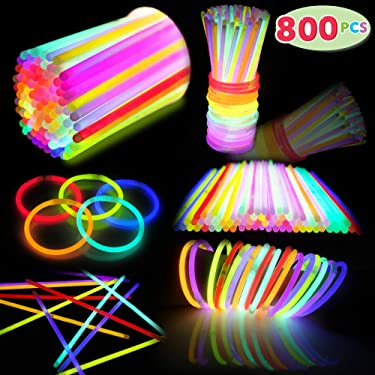 800 PCs Glow Sticks Bulk Colorful Neon for Glowstick Party Favors, Glow in the Dark Necklace & Bracelet, Birthday Christmas Halloween Football Party Disco Supplies, 4th of July & Independent Day