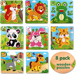 8 Pack Wooden Jigsaw Puzzles for Toddlers Age 2 3 4 5 Years Old Animals Jigsaw Puzzles Set Toys for Kids Children Preschool Puzzles Learning Educational Toys Gift for Boys and Girls