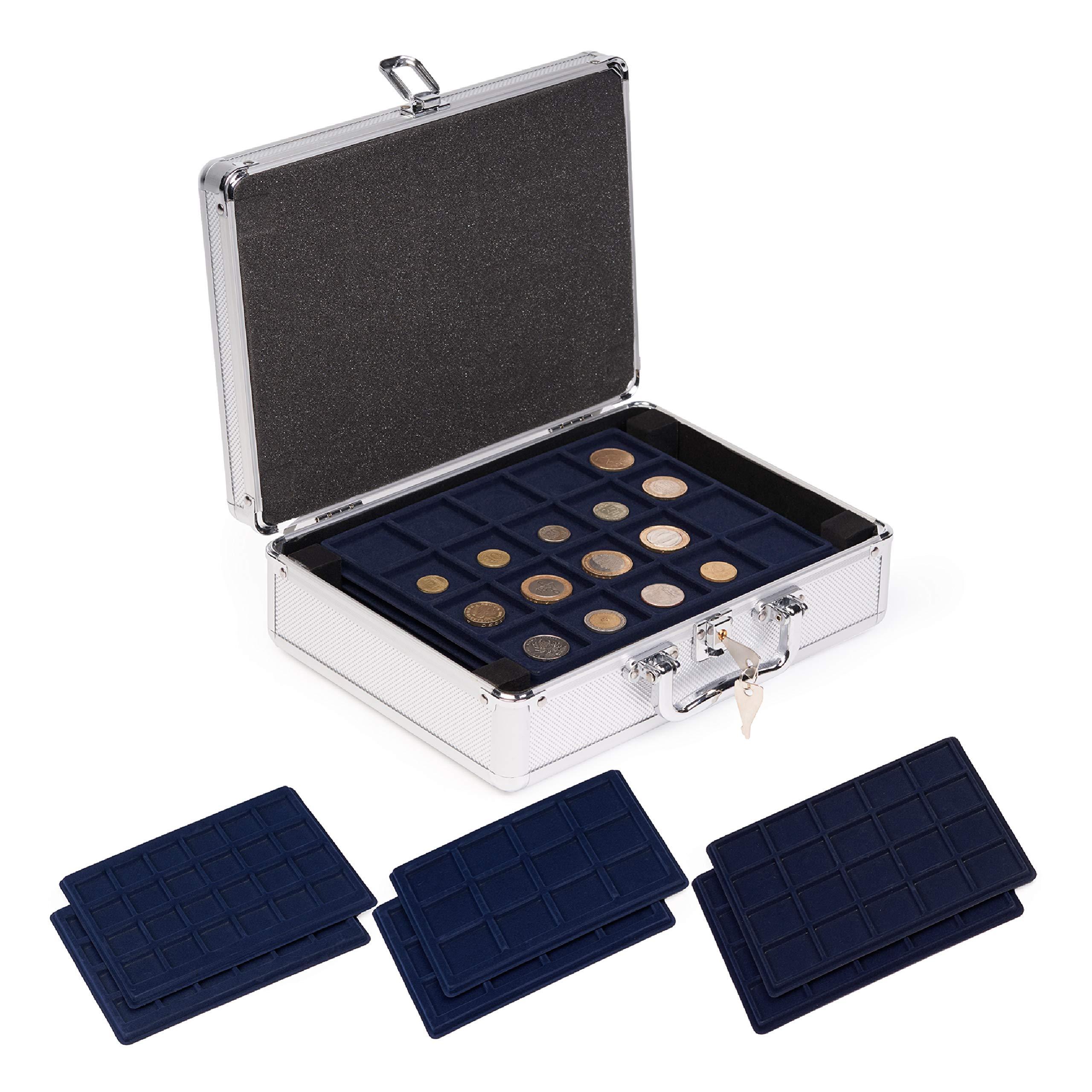 Caja Maletín de Aluminio para Coleccionistas de Monedas con 6 Bandejas - Almacenamiento de Colección de Monedas - Para Todo Tipo de Monedas, con Cerradura y Llaves - Robusto y Confiable.: Amazon.es: