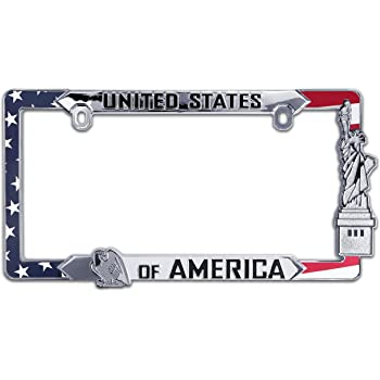 Elektroplate American Flag Black Metal Chrome License Plate