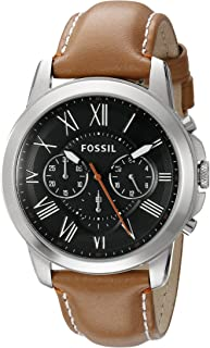 Men's FS4918 Grant Chronograph Stainless Steel Watch with Tan Leather Band