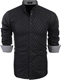 COOFANDY Men's Slim Fit Dress Shirt Long Sleeve Business Plaid Button Down Collar Shirt