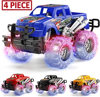 MAPIXO 4 Pack 4 Colors Light Up Monster Truck Set with Flashing LED Wheels, Best Gift for Boy and Girl Age 3+ Years Old. Push n Go Car, Monster Car Toy for Kids Child Toddler Birthday Party Favors