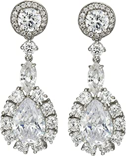 Large Pear Haloed Cluster Earrings