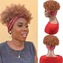 Head Wrap Wigs 2 in 1 Synthetic Hair Wigs Headband Wigs High Puff Pineapple Scarf Afro kinky Curly Wigs Short Heat Resista...