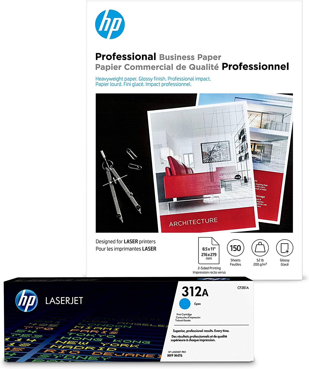 HP 312A Cyan Toner + Brochure 11 Laser x 8.5 Paper Very popular Glossy Selling and selling