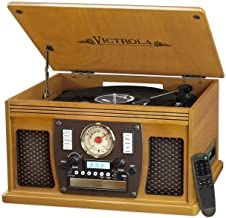 Victrola Navigator 8-in-1 Bluetooth Record Player & Multimedia Center with Built-in Stereo Speakers - 3-Speed Turntable, Vinyl to MP3 Recording Wireless Music Streaming Oak VTA-600B-OAK