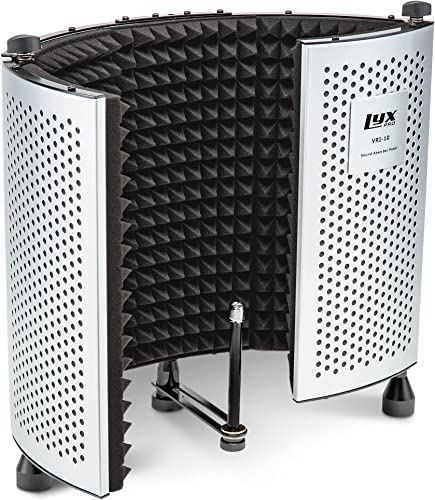 lowest LyxPro VRI-10 Vocal Sound Absorbing Shield For Studio Home And Office Recording Acoustic high quality Isolation Microphone Foam Panel 2021 Shield – Portable And Adjustable Stand Mount or Desktop Use sale