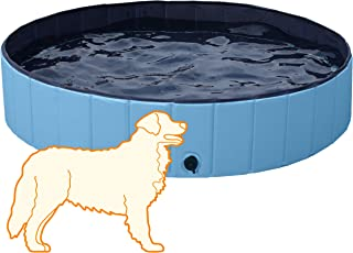 Yaheetech Hard Plastic Foldable Bath Pool Collapsible Pool Bathing Swimming Tub Kiddie Pool for Kids, 55.1inch.D x 12in. H, Blue