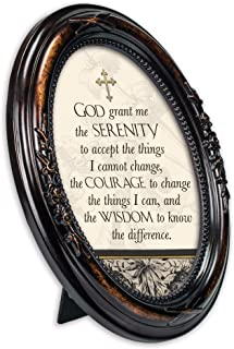 Cottage Garden God Grant Me The Serenity Burlwood Finish Floral 5 x 7 Oval Table and Wall Photo Frame