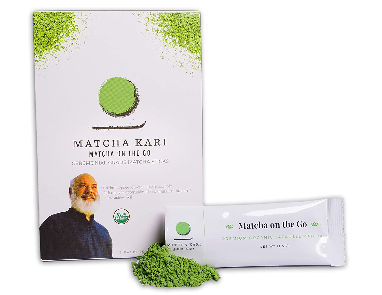 Matcha Kari Superior Japanese Matcha Green Tea Sticks - Ceremonial Grade - 1.5 Gram Individual Matcha Sticks (12 Sticks)