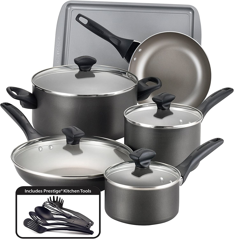 Farberware 21896 Safe Nonstick Cookware Set, Pewter