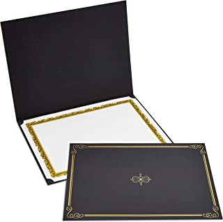Best Paper Greetings 12-Pack Certificate Holder - Diploma and Document Cover for Letter-Sized Awards, Black, Gold Foil Border, 11.2 x 8.7 Inches