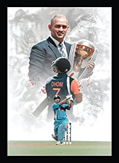 BIRD'S MIND Captain Ms Dhoni Synthetic Wood Wall Hanging Photo Framed Poster Boys Room Living Bedroom Home Decoration Wall...