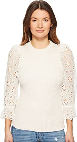 Rebecca Taylor - Eyelet Sleeve Pullover