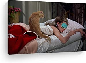 Smile Art Design Audrey Hepburn Breakfast at Tiffany`s Sleeping Mask in The Bed with her Cat Canvas Print Modern Wall Decor Artwork Bedroom Living Room Wall Art Ready to Hang Made in The USA 11x17