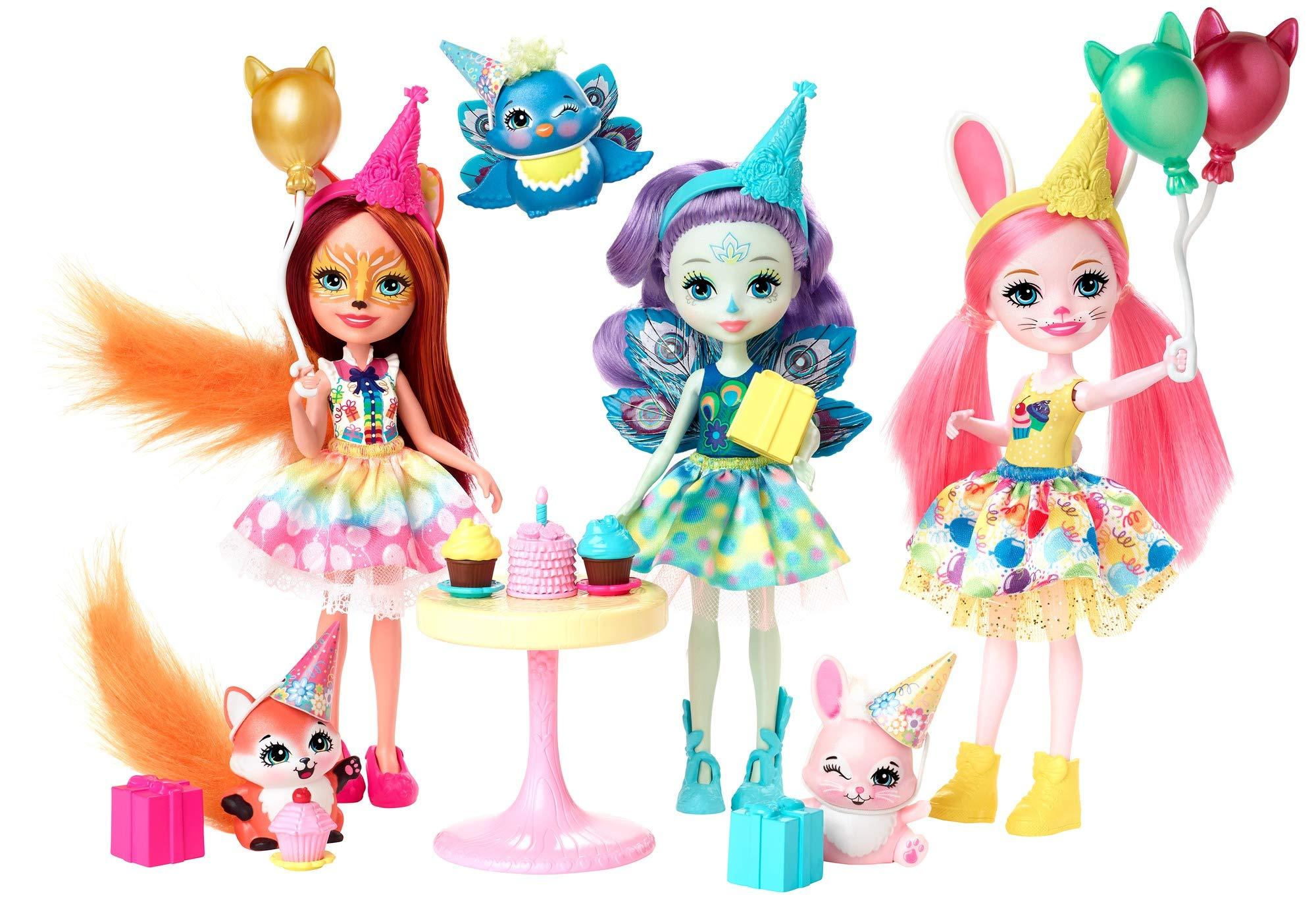 Amazon.es: Enchantimals Cumpleaños Encantados, Pack de 3 Muñecas con Accesorios (Mattel GJX22): Juguetes y juegos