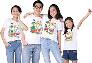 M.D.K Short Sleeves Thank You Cartoon Graphic Family Unisex Adults Kids T-Shirt
