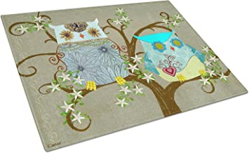 Caroline's Treasures PJC1094LCB The Friendly Ladies Owl Glass Cutting Board, Large, Multicolor
