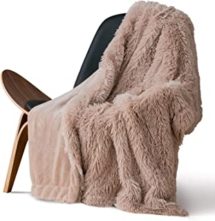 Bedsure Plush Faux Fur Reversible Fleece Bed Throw Fuzzy Nap Blanket –Super Soft Lightweight Throw for Couch Chair Sofa and Bed (50 x 60 inches, Camel)