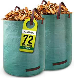 Garnen 72 Gallon Garden Waste Bags (2 Pack), Heavy Duty Reusable / Collapsible Leaf Bags with 4 Reinforced Handles for Law...