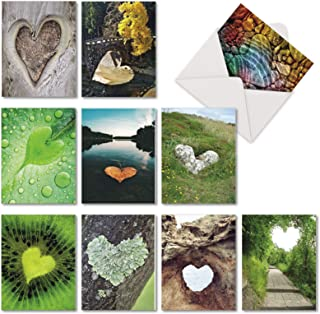 The Best Card Company - 10 Blank Heart Note Cards Boxed (4 x 5.12 Inch) - All Occasion Heartfelt Love Assortment - Heartscapes AM6838OCB-B1x10