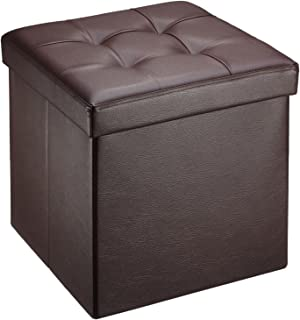 Ollieroo Faux Leather Folding Storage Ottoman Bench Seat Foot Rest Stool (15