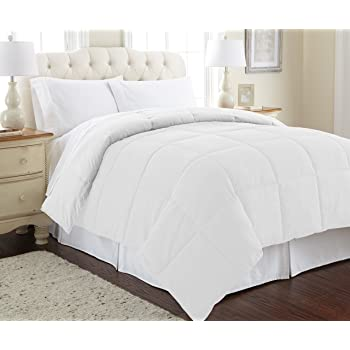 Amrapur Overseas Down Alternative Microfiber Quilted Reversible Comforter/Duvet Insert Ultra Soft Hypoallergenic Bedding-Medium Warmth for All Seasons, Twin, White/White