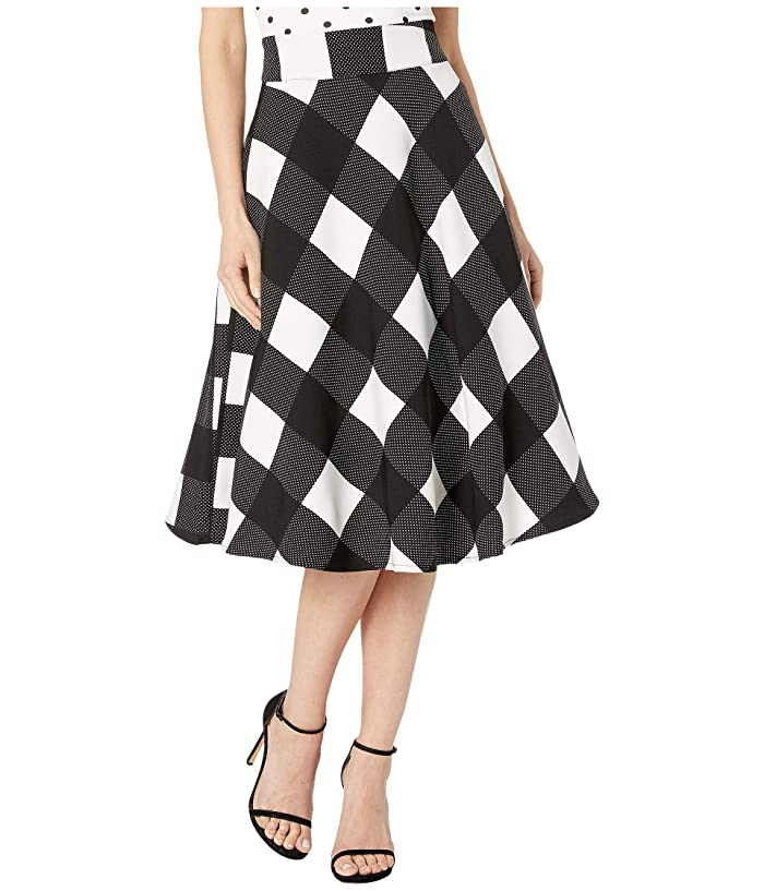 Unique Vintage Retro Black White Checkered High-Waisted Vivien Swing Skirt (Black/Ivory) Women