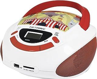 Metronic 477145 Radio Lecteur CD Enfant Circus avec Port USB/SD/AUX-IN – Rouge et Blanc