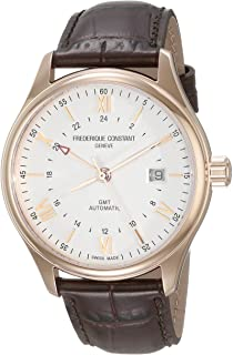 Frederique Constant Men's 'Classics Index' Silver Dial Brown Leather Strap GMT Swiss Automatic Watch with Brown Leather Band FC-350V5B4