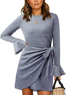 Aliling Women's Elastic Flared Long Sleeve Wrap Tie Bodycon Dress Casual Knitted Sweater Dresses