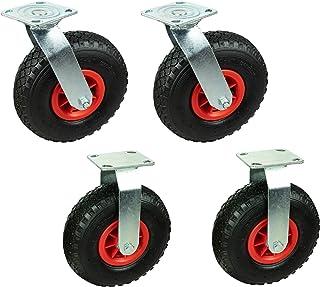 4 x 260 mm transportwielen, 130 kg, 2 x zwenkwielen, 2 x bokwielen met wielhouder.