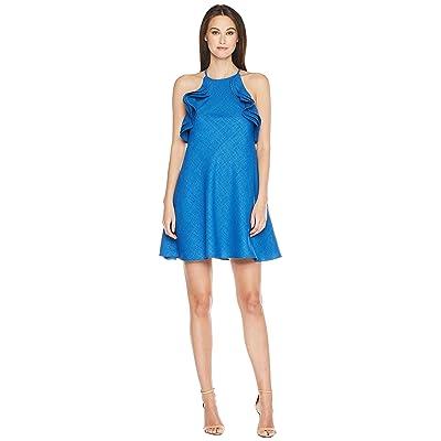 Badgley Mischka Halter Ruffle Non-Wrinkle Linen Dress (Blue) Women