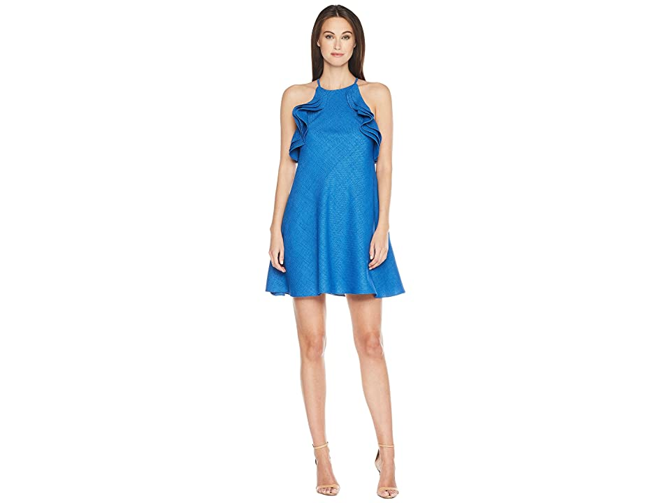 Badgley Mischka Halter Ruffle Non-Wrinkle Linen Dress (Blue) Women
