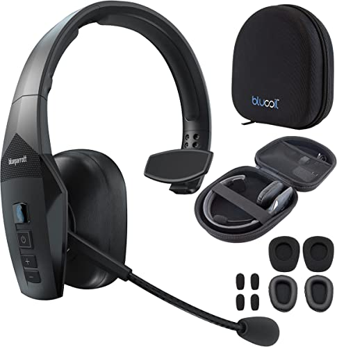 lowest BlueParrott outlet sale B450-XT Bluetooth Headset with Noise Cancelling Microphone for iOS and Android Bundle with Blucoil Headphone Carrying Case, and Replacement Mic lowest Windscreens and Ear Pads sale