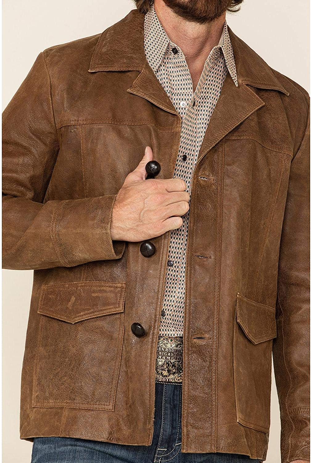 Milwaukee Leather Men's Button Front Car Jacket Brown Small