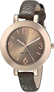 Women's NW/1319RGGY Round Rose Gold-Tone Brown Strap Watch