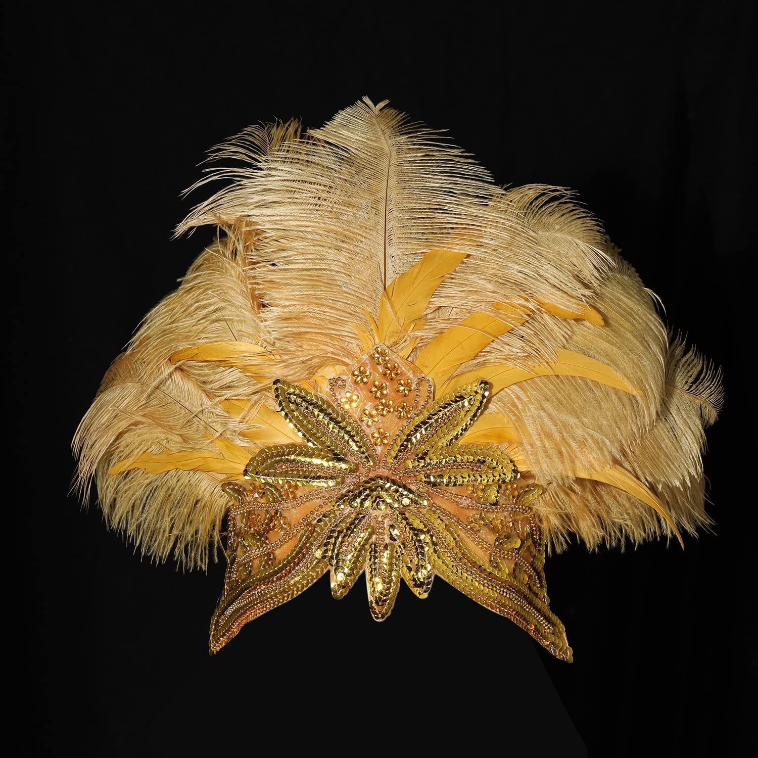 ArtiDeco 1920s Flapper Feather Headpiece Vintage 1920s Crystal Headband with Sequins Great Flapper Gatsby Costume Accessories