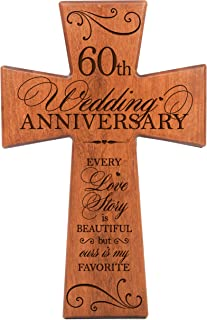 LifeSong Milestones 60th Wedding Anniversary Cherry Wood Wall Cross Gift for Couple, 60th for Her,60th Wedding for Him Every Love Story is Beautiful but Ours is My Favorite # 62869