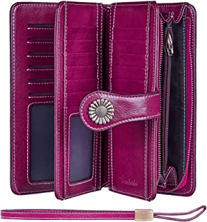 Travelambo Womens Large Capacity RFID Blocking Genuine Leather Wallets