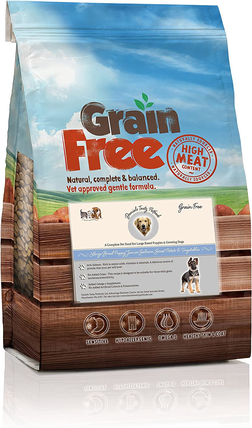 Grain Free  Salmon with Sweet Potato & Vegetables  Large Breed Puppy Junior Dog Food (12Kg)