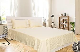 Cream King Size 260 x 280 cm Hotel Linen Bedding Set - 3 Pieces