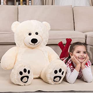 WOWMAX 3 Foot Giant Teddy Bear Daney Cuddly Stuffed Plush Animals Teddy Bear Toy Doll for Birthday Christmas Ivory 36 Inches