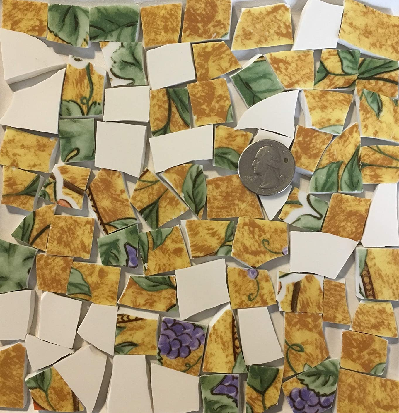 Mosaic Art & Crafts Supply ~ Purple & Red Fruit w/Green Leaves on China Tiles w/White (B373)