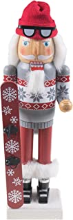 Clever Creations Snowboarding Santa Claus Nutcracker Traditional Collectible Wooden Christmas Nutcracker | Festive Holiday Décor | Wearing Boots and Goggles |with Snowboard | 100% Wood | 14