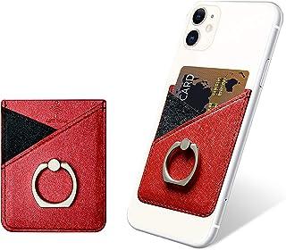 takyu Credit Card Holder, RFID Blocking Phone Card Holder for Back of Phone, Phone Wallet Stick on Phone Case Safety Finger Strap for Smartphone(Red)