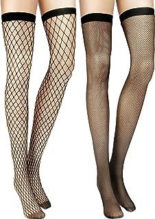 Zhanmai 2 Pairs Fishnet Thigh High Stockings (Black Style 2)