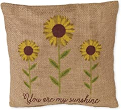 The Country House Collection Small Burlap Pillow (8 x 8) (Sunshine/Flower)