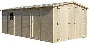 TIMBELA M102 Garage en Bois Exterieur - Chalet en Pin/épicéa- 600 x 300 cm – 18 m² - Construction de Panneaux